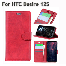 цены For Case HTC Desire 12S Cover Business Style Leather Bag For HTC 12 S Wallet Flip with Card Holder Full Cover Slim Phone Shell