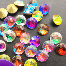 Sharp Bottom Crystal Gradient Color Nail Art Rhinestone, Colored Shadow Coloured Phantom Crystal, Round Spherical Glass