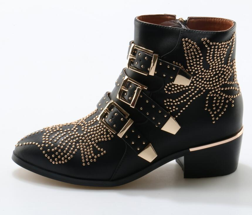 fashion metal Studded Leather Buckle Ankle Boots Women pointed Toe rhinestones ankle flat buckle boots real photos