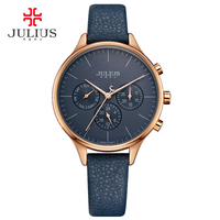 JULIUS Women Luxury Watch Chronograph Week Date Stopwatch Silver Rose Gold Genuine Leather Business Watch OL Gift Whatch JA 952