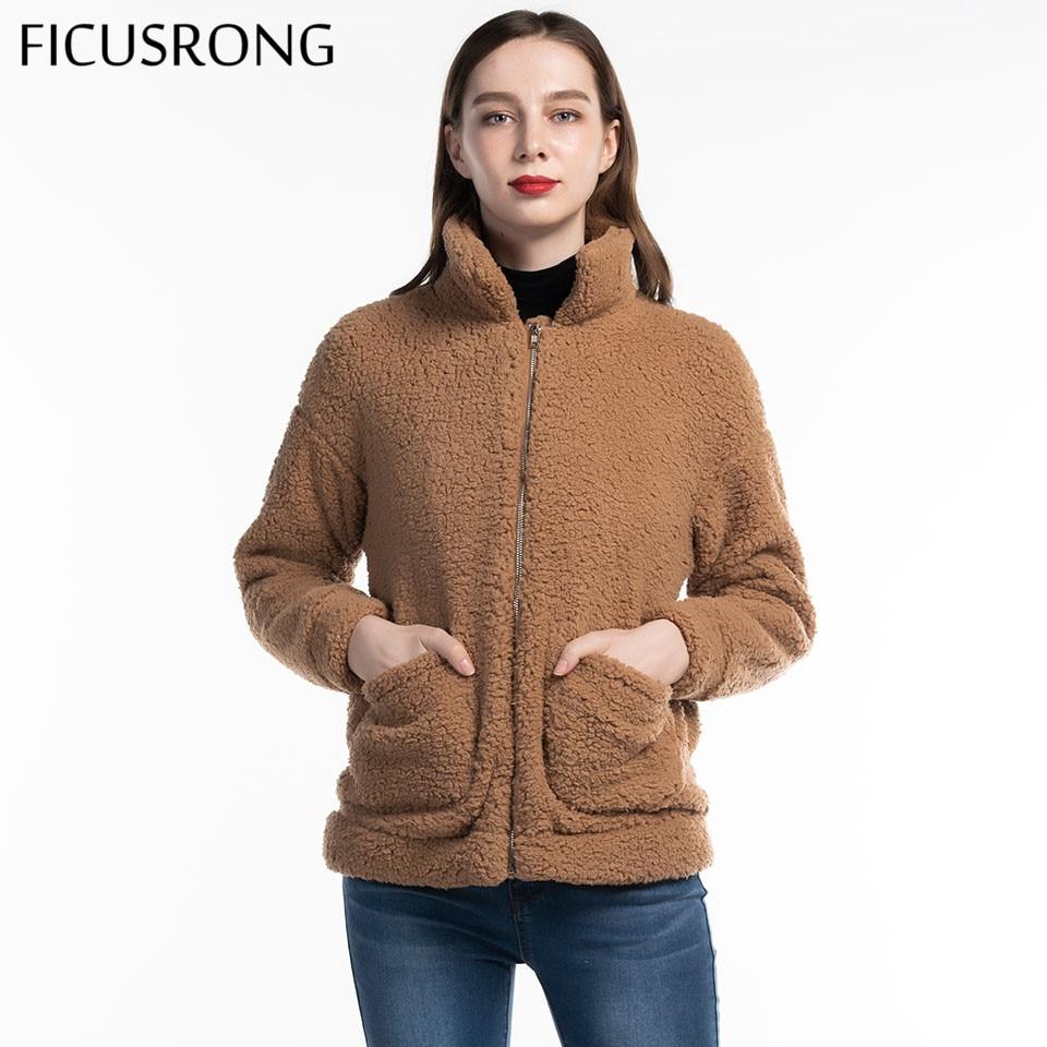 2019 Autumn Winter Warm Soft Zipper Fur Jacket Female Plush Overcoat Elegant Faux Fur Coat Women Casual Outerwear FICUSRONG