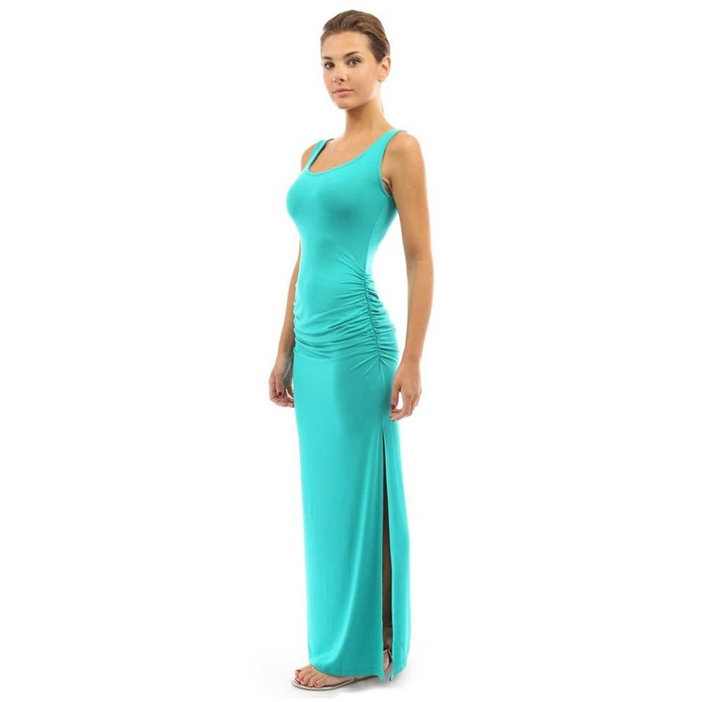 Free Shipping Maxi Tank Dresses Ladies Summer Beach Wear Sleeveless Long Dress