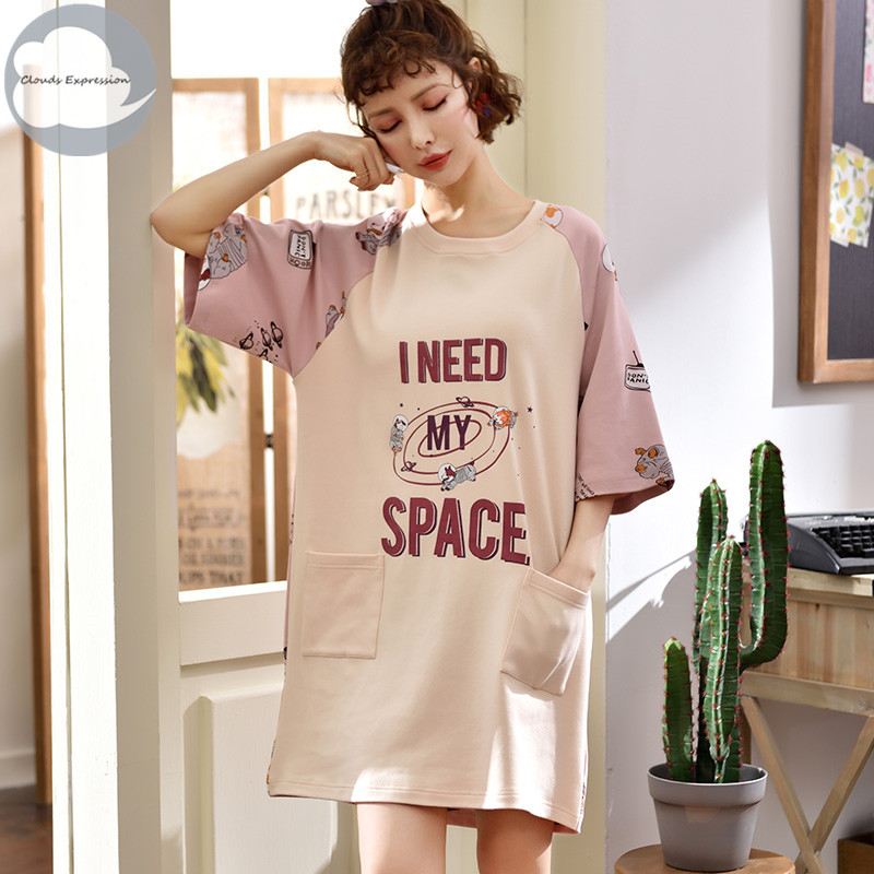 Summer New 100% Cotton Cartoon Women's Sleepwear Girl   Nightgowns     Sleepshirts   Dress Nightwear Nightdress Sleepwear Home Fashion