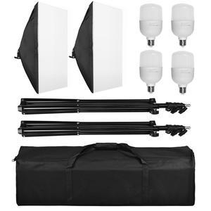 "Image 5 - ZUOCHEN 4x25W LED Continuous Lighting Kit 20""x28""/50x70cm Softbox Soft Box Photo Studio Set Light Bulbs Lamp Photography Softbox"
