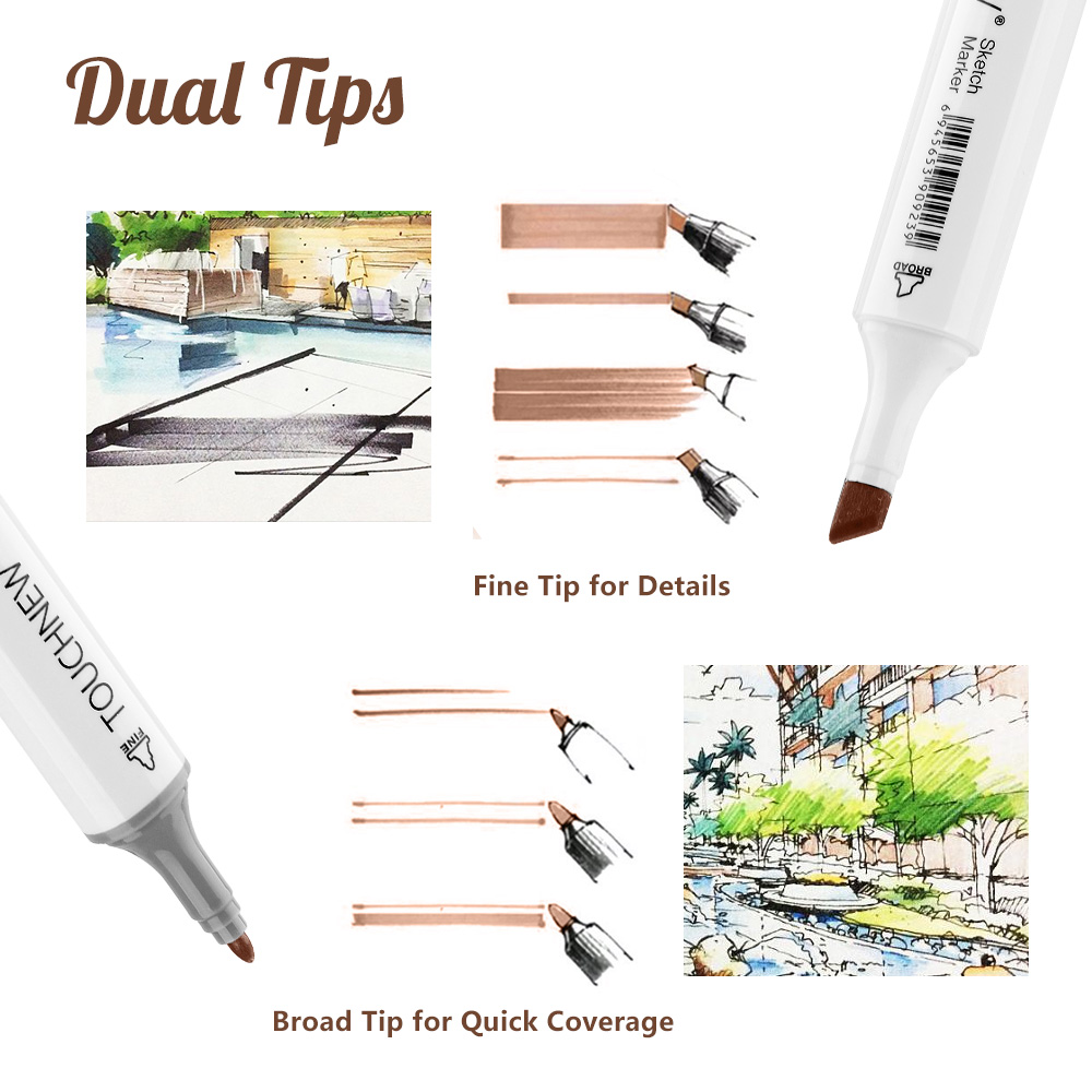 Touchnew Art Marqueurs Stylos 24 Colros dual tip alcool pinceau stylo teint Set