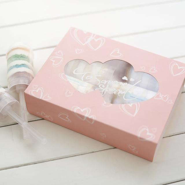 2018 nouveau Moana Pokemon 10 pcs/lot 22x17x5.5 cm clair Pvc fenêtre rose boîtes en carton pour gâteaux 6 Grain