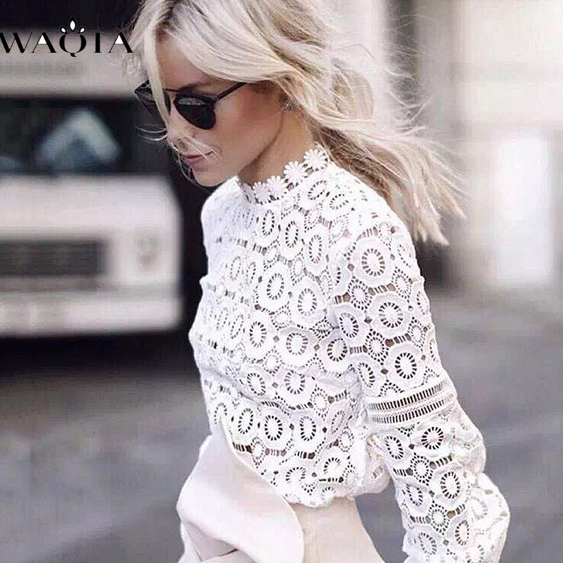 WAQIA Elegant Floral Lace   Blouse     Shirt   Women Lantern Sleeve White   Blouse   Spring Summer Hollow Out Tops   Blouse   Blusas Feminina