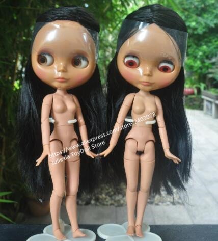 Blythe doll, dark skin doll with joined body, black long straight hair, H15
