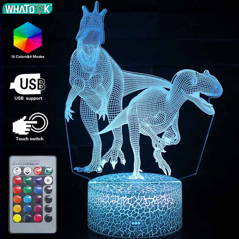 Dinosaur 3D LED Night Light Velociraptor Remote Table Lamp Illusion 16 Color Decor Animal Gift For Kids Holiday Christmas Party