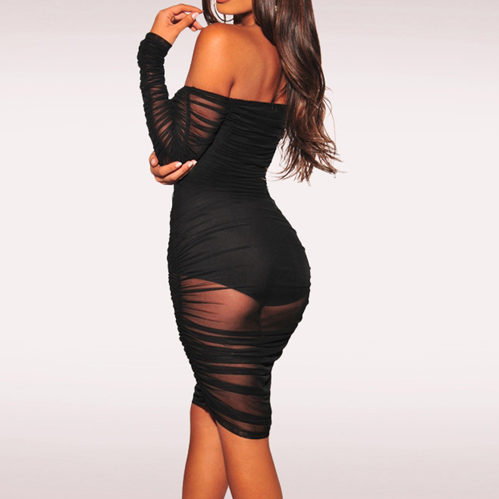 Fashion Women Slash Neck Off Shoulder Sexy Strapless Club Party Sheath Dress Comfortable fabrics Dropshipping 2019 New#30