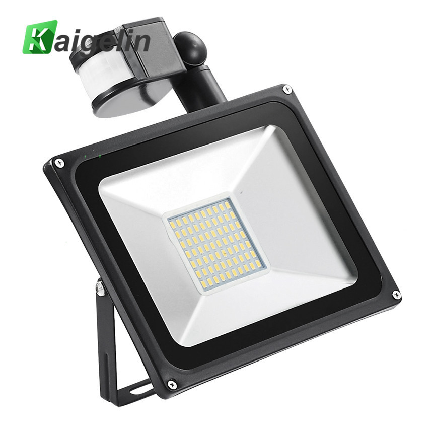 Kaigelin Sensor LED Flood Light 50W 220V 70 LED'er SMD 5730 Infrarød Sensor Flood Lamp Udendørs Belysning LED Induktion Floodlights