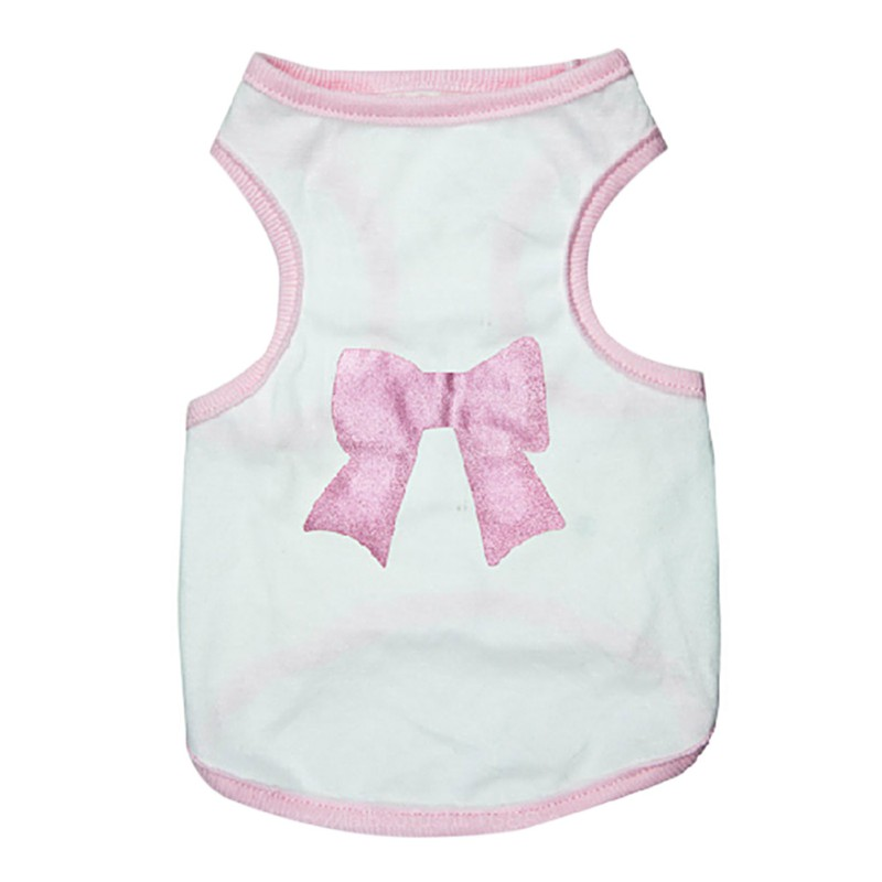 Pink Bow Dog Girls Shirt Summer Puppy Clothes New Born Deerdog Chihuahua Small Dog Vest