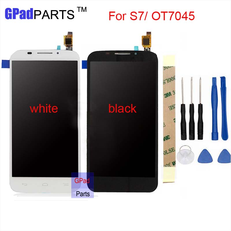 7045 LCD Display+Touch Screen Panel Digitizer Accessories For Alcatel One Touch POP S7 OT7045 7045Y 7045A Smartphone Black White lcd display touch screen panel digitizer accessories for lenovo vibe k5 plus 5 0inch smartphone free shipping track number