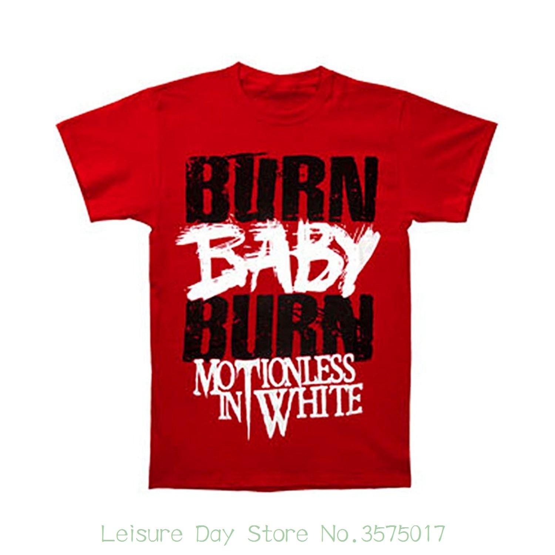 Printed Round Men Tshirt Cheap Price Motionless In White Mens Burn Baby Burn T-shirt Red