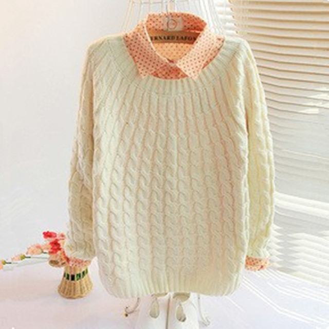 2015 women's new Spring & Autumn school style small twist sweaters pullover thicked long-sleeved knit sweater