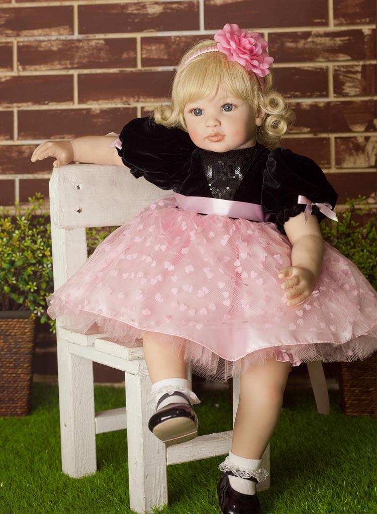 60 cm Haute-fin vinyle nouveau-né reborn bébé poupée jouet silicone fille bébés princesse poupée d'anniversaire de vacances cadeau coucher jouer maison jouet