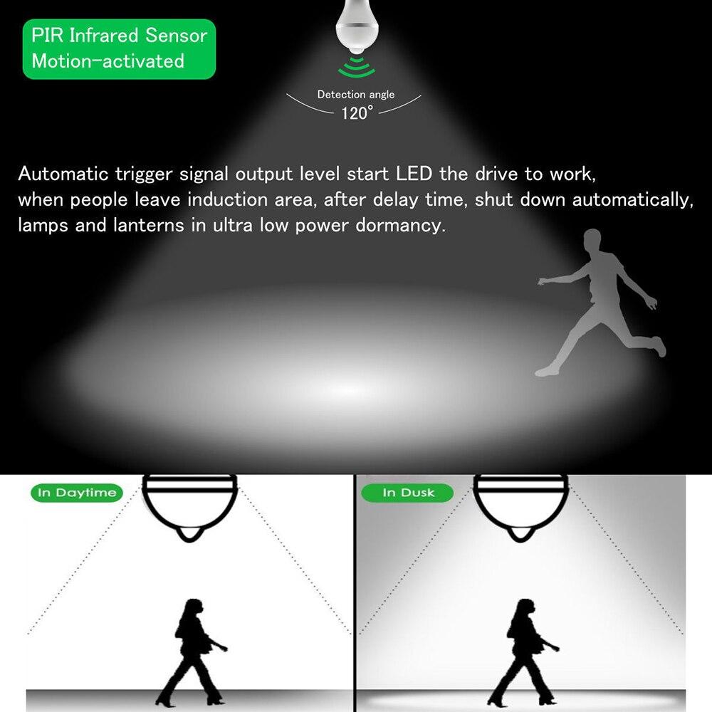 10 шт. Светодиодная лампа с датчиком движения PIR светодиодная лампа 7 Вт 9 Вт Авто умная светодиодная Инфракрасная Лампа PIR + свет E27 датчик движ... - 3