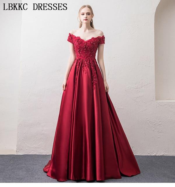 92b419256 Lace-Satin-Prom-Dresses-Off-The-Shoulder-Vestido-De -Festa-Appliques-Beading-Gala-Jurken-Burgundy-Long.jpg