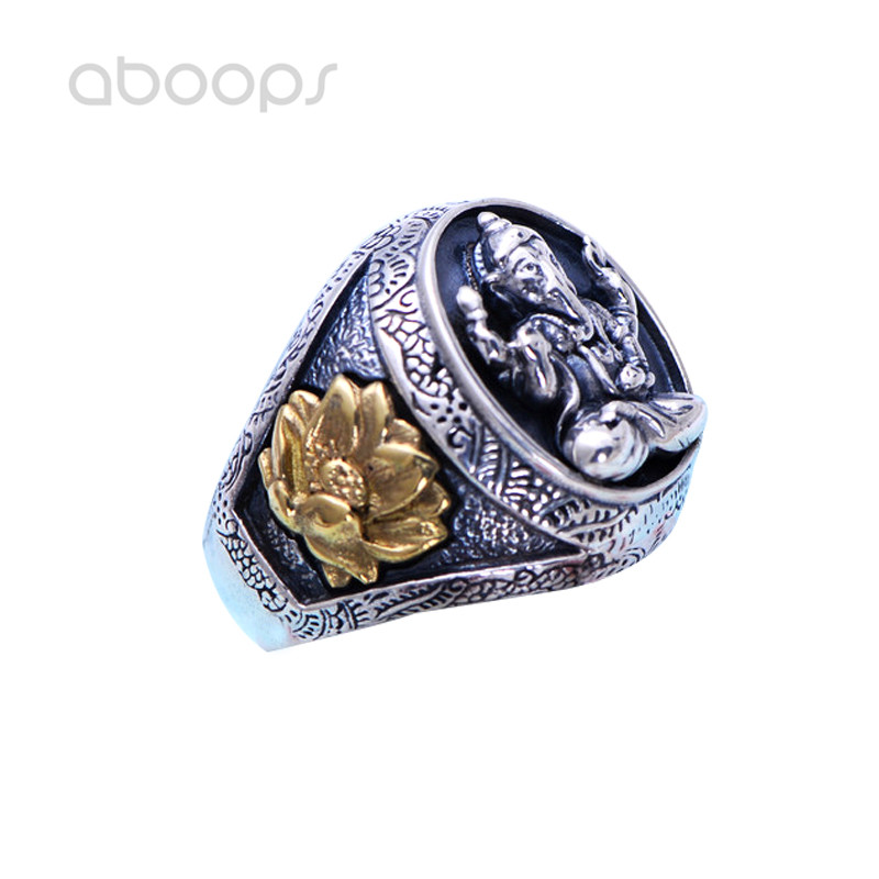 Two Tone 925 Sterling Silver Buddhism Geneisha Ring with Gold Lotus Flower for Men Boys Size 7 8 9 10 11 Free Shipping цена