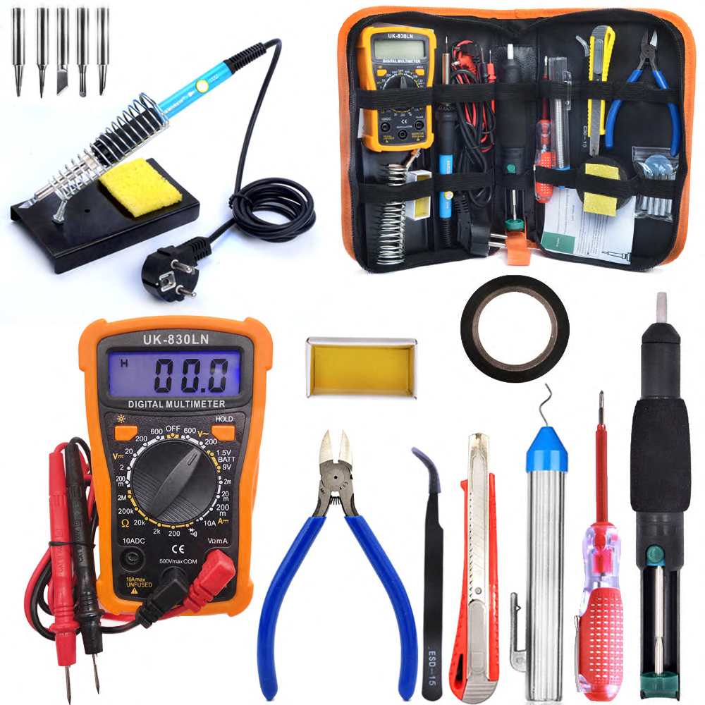 Soldering Iron Kit 60W Adjustable Temperature Welding Tool,Digital Multimeter  5pcs Soldering Iron Tips,Desoldering Pump, knife adjustable temperature soldering iron 60w switch welding station tool kit with soldering tips