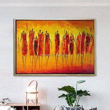 hand painted orange african oil painting the africa Tribal warrior wall art canvas picture abstract indian figure decor
