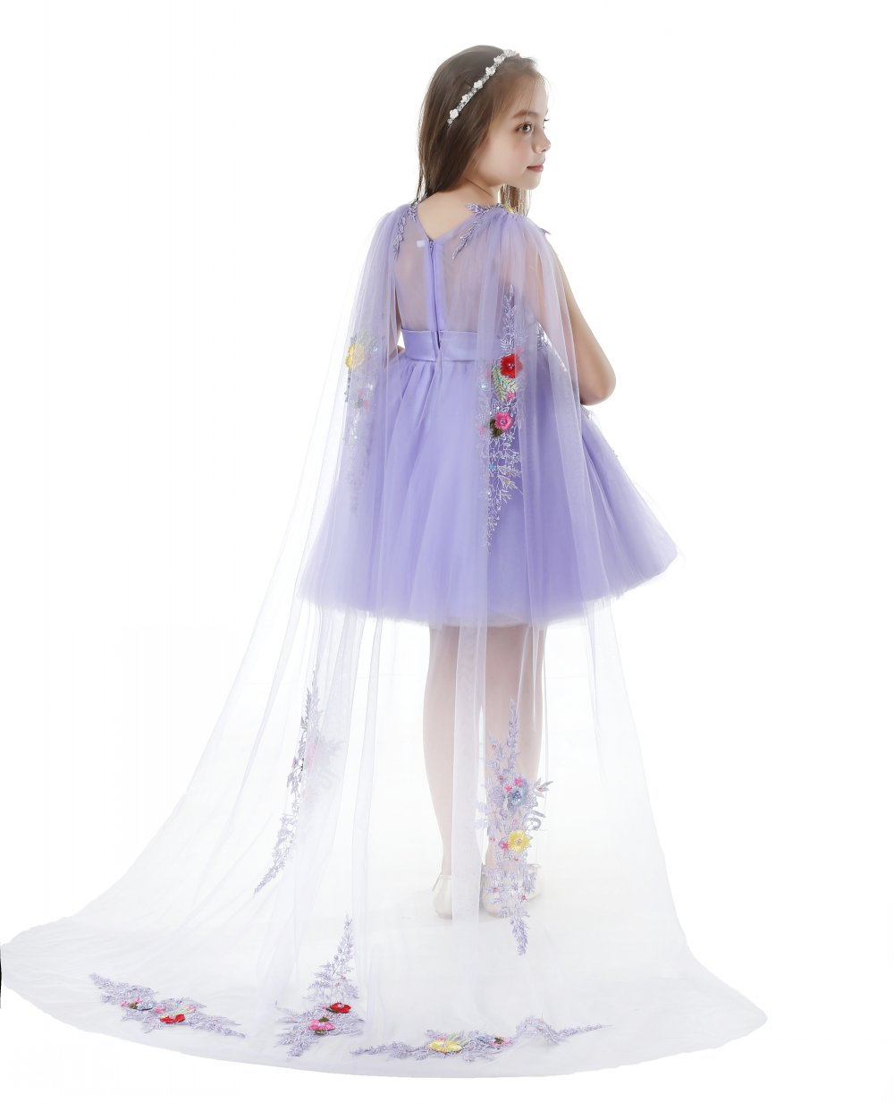 Free Shipping Knee Length 4-12 Years Kids Party Dress 2018 New Arrival Lilac Flower Girl Dresses With Train Child Princess Gowns knee length belted summer party clothing wedding dress kids 4 to 10 11 12 13 14 15 years 2017 child ivory flower girl lace dress