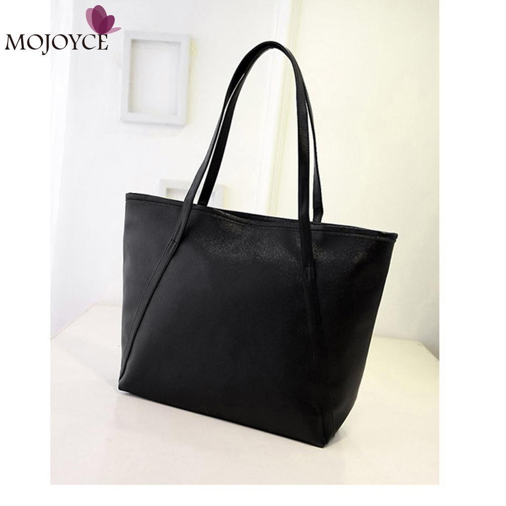 4afd989302e5 2018 Простой конструктор Для женщин кожа Сумки черный сумки на плечо Для женщин  большой Ёмкость сумка-мешок женская сумка-шоппер Bolsa