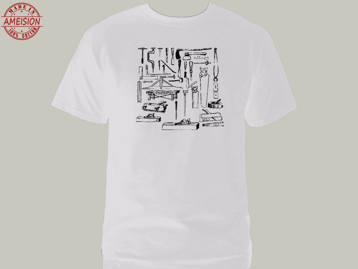 Woodworking wood worker tools carpenter handyman white graphic new t shirt in T Shirts from Men 39 s Clothing