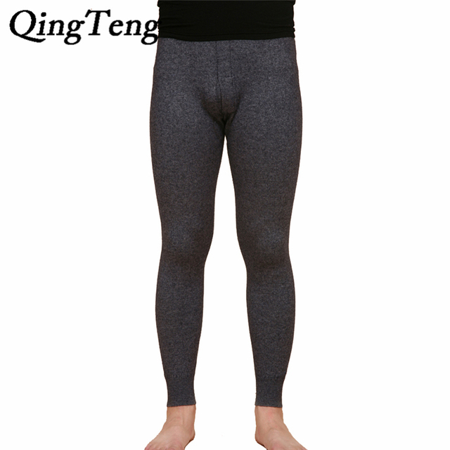QingTeng Invierno Medias Hombres Gay Calzoncillos Largos Pantalones De Lana Merino Hombres Espesar Caliente Leggings Ropa Interior Térmica de Los Hombres \'s de Invierno caliente