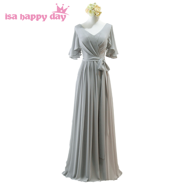 silver grey chiffon v-neck a-line floor-length   bridesmaid     dress   bridemaids sister of the bride   dresses   sexy for maid H4133