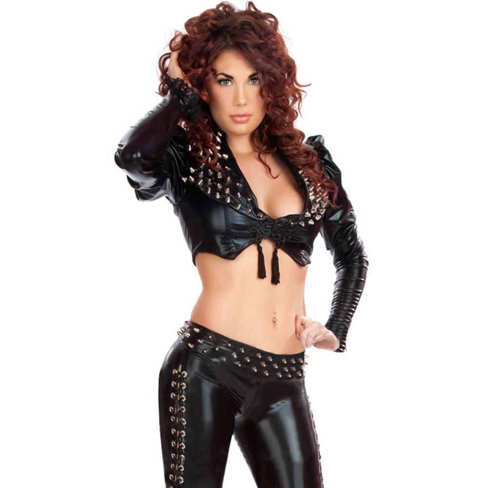 Steampunk vêtements Sexy femmes cothique Punk à manches longues Rivet Crop hauts et pantalons noir boîte de nuit Style en cuir Lingerie ensembles