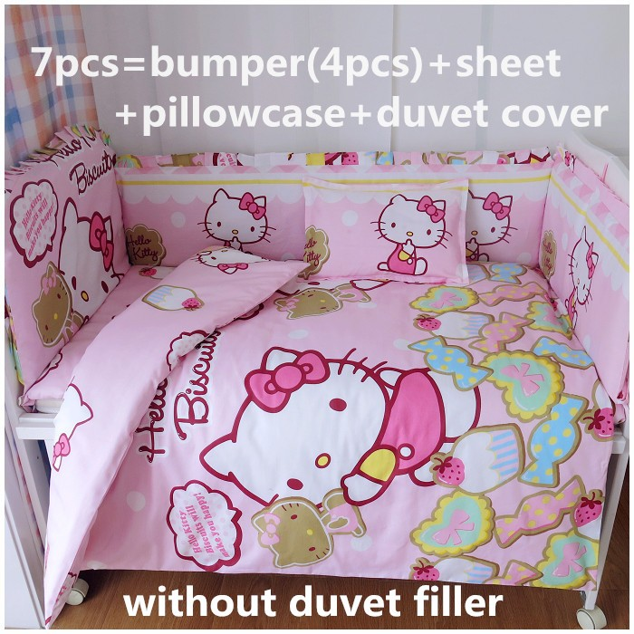 ФОТО Discount! 6/7pcs Hello Kitty Crib Baby Bedding Set Cot Bumper Sets Comfortable Newborn Baby Cots Bedding Set ,120*60/120*70cm