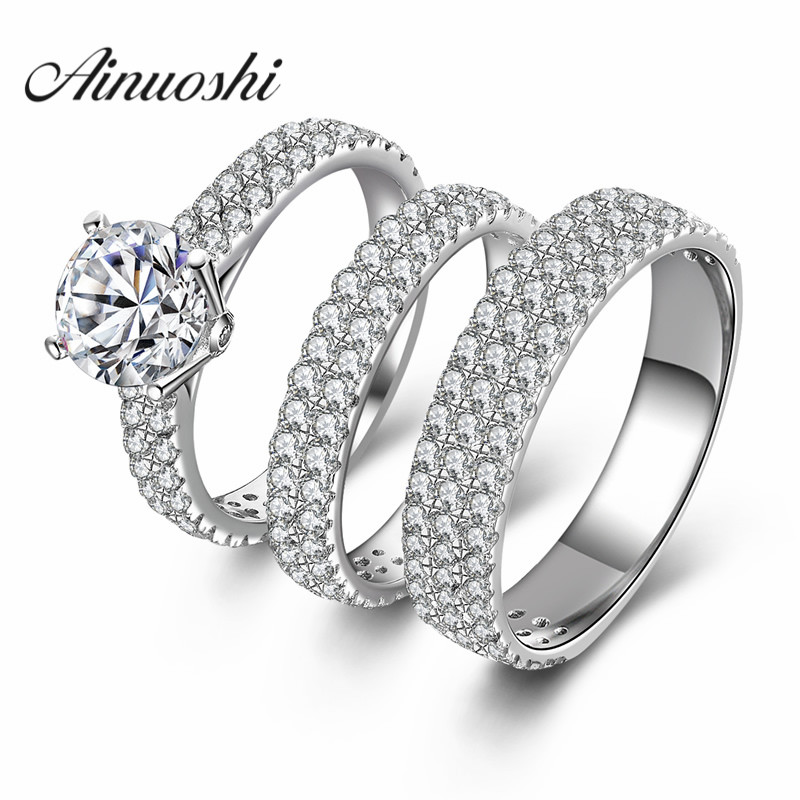AINUOSHI 925 Sterling Silver Couple Wedding Engagement Rings Sets Women Men Round Cut Anniversary Lover Promise Ring Sets Gifts men wedding band cz rings jewelry silver color anillos bague aneis ringen promise couple engagement rings for women