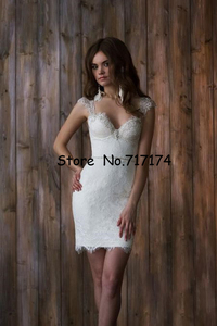 Image 4 - Two Pieces Sweetheart A line Wedding Dresses with Detachable Train Open Back Cap Sleeves Lace Beaded Bridal Gowns Robe De Mariee