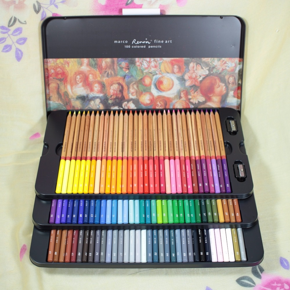 buy new arrival marco 100 colored pencils sets lapis de cor marco 100 cores. Black Bedroom Furniture Sets. Home Design Ideas