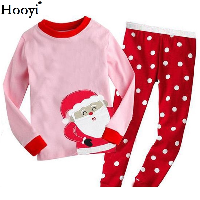 Hooyi Dog Baby Girls Pajamas Suits 2 3 4 5 6 7 years Children Clothes Sets Girl Clothes sets T-Shirts Pant Sleepwear 100% Cotton 6