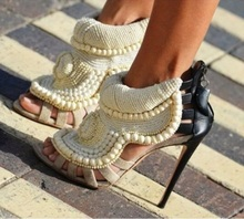 White Pearl Women Sandals Thin Heels Knitting Patchwork Ankle Boot Sexy Hollow Gladiator Plus Size 10