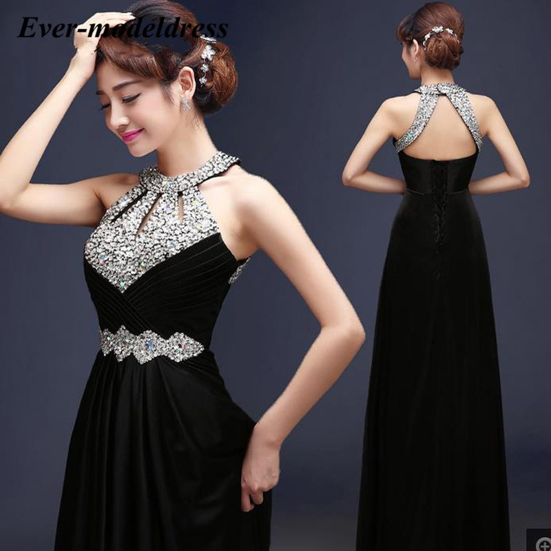 Sexy   Prom     Dresses   2019 Black Gold Blue O-Neck Beaded Crystal Backless A-Line Floor Length Vestidos De Festa Evening Party Gown