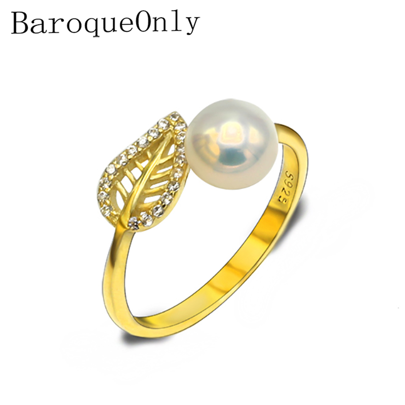 BaroqueOnly Fashion Jewelry 9-10mm Freshwater Pearl LEAF Ring For Women Wedding Beautiful Adjustable Rings 925 SILVER STERING