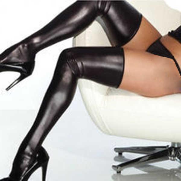 ZH damskie seksowne pończochy czarne elastan zakolanówki lateksowe glam rock Gothic Wetlook