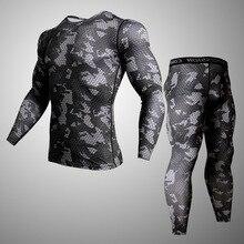 Мужская спортивная одежда Рашгард ММА Мужская камуфляжная одежда Компрессионные спортивные Леггинсы футболка для бега тренировочная мужская одежда