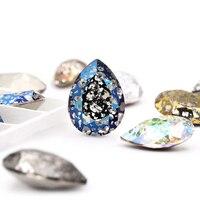 Teardrop Glass Crystal Patina gule On Rhinestones High Quality Pointback Sew On Stone Droplet Sewing Rhinestone For Garment