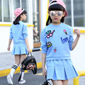 New Arrived Girls Suit 2017 Spring Autumn Fashion Children's Shirt+Dress Two-Piece O-Neck Cotton Long Sleeves Clothing Hot Sale