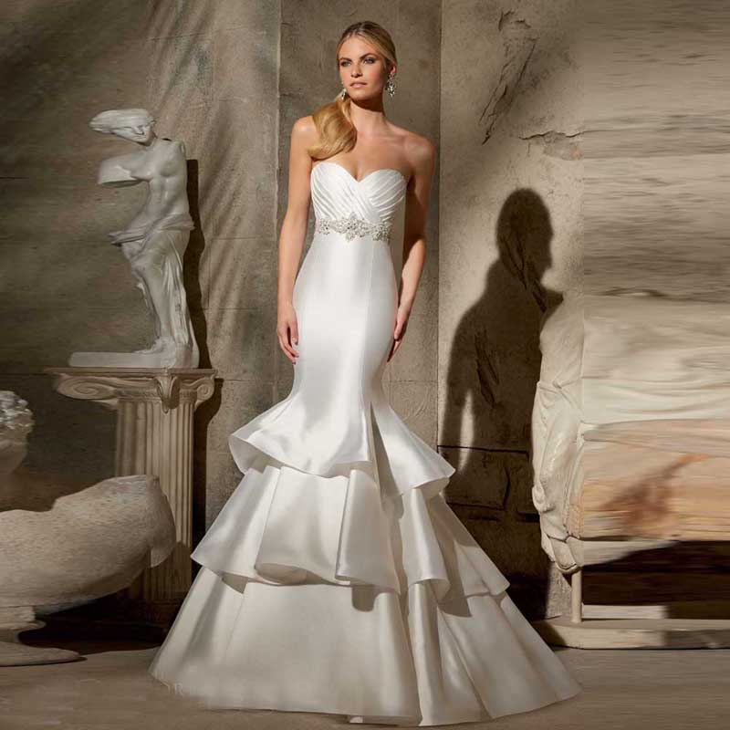 2016 simple plain style satin trumpet sweetheart pleated for Satin mermaid style wedding dresses