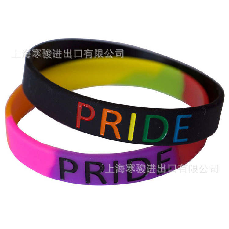 Printed Letters Gay Pride Rainbow gay Silicone Sports Bracelets Bangles Women Fluorescent Rubber Fitness Wristband Bracelet in Hologram Bracelets from Jewelry Accessories