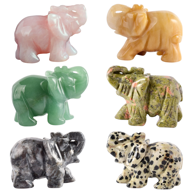 2 tums Crystal Elephant Figurines Craft Carved Natursten Mineral Mini Djur Staty för Chakra Healing