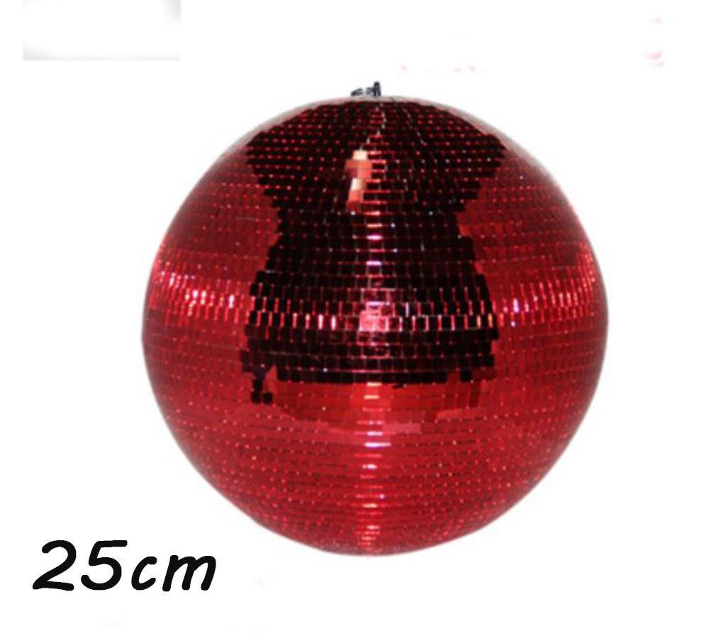 D25cm diameter Red hand made glass rotating mirror ball 10