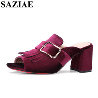 2017 Summer Slippers Sexy Square Heels Tassel Sandals Shoes Woman Fashion High Heels Female Summer Buckle