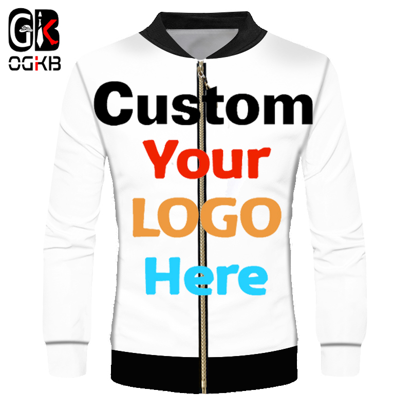 OGKB Custom Jacket Windbreaker DIY Print Your Own Design LOGO Photos 3D Zipper Coat Jackets Outerwear Drop Shipper Wholesaler