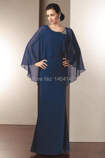 Nueva llegada Vestido De madrina gasa azul A Line elegante madre De ...